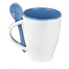 Palermo kerámia bögre kanállal 250 ml, kék \E-509504\