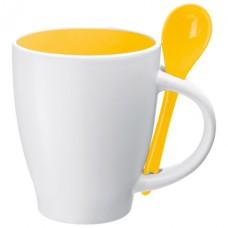porcelán bögre kanállal 0,25 l, sárga \C-8509508\