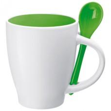 porcelán bögre kanállal 0,25 l, zöld \C-8509509\