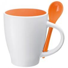 porcelán bögre kanállal 0,25 l, narancs \C-8509510\