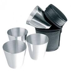 pálinkás készlet 4 db-os rozsdamentes acél kupica (stampedlis pohár) bőr tokban \C-6574003\