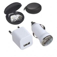 autós utazó készlet (hálózati és szivargyújtós USB töltő) \C-3874603\