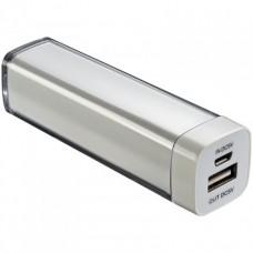 Power bank 2200 mAh, hordozható mobiltöltő, külső USB akkumulátor, vésztöltő, ezüst \C-4302806\