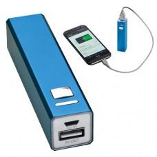 Power bank 2200 mAh, hordozható mobiltöltő, külső USB akkumulátor, vésztöltő, kék \C-4302904\