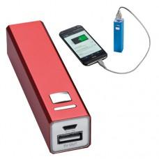 Power bank 2200 mAh, hordozható mobiltöltő, külső USB akkumulátor, vésztöltő, piros \C-4302905\