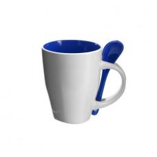 kerámia kávés bögre kanállal 0,26 l sötétkék \M-285505\