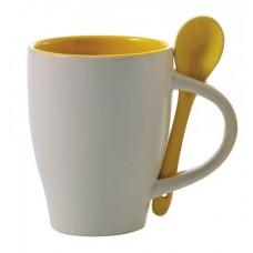 kerámia kávés bögre kanállal 0,26 l sárga \M-285506\