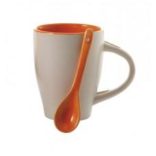 kerámia kávés bögre kanállal 0,26 l narancs \M-285507\