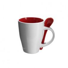 kerámia kávés bögre kanállal 0,26 l piros \M-285508\