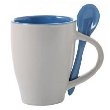 kerámia kávés bögre kanállal 0,26 l kék \M-285518\
