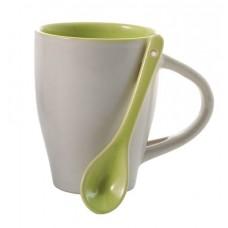 kerámia kávés bögre kanállal 0,26 l zöld \M-285519\