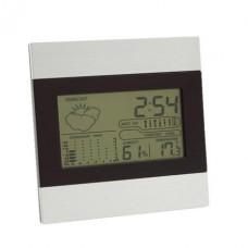 asztali óra / hőmérő / naptár /időjárás jelző, ezüst / fekete \T-0401032\