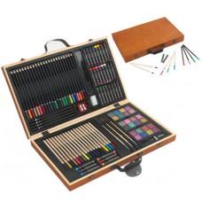 festő szinező készlet 88 db-os, fa dobozban \T-0504067\