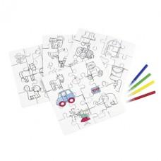 szinezhető puzzle 4 db-os, 4 db filctollal \T-0504091\