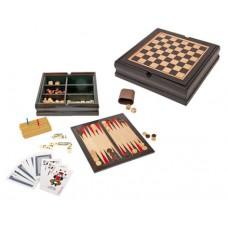 játék készlet 5 in 1 (sakk, dáma, dominó, kockapóker), fa dobozban \T-0501030\