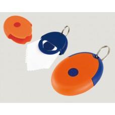 kulcstartó, microfibre (szemüvegtörlő) kendővel, kék/narancs \T-0407704\