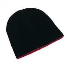 Nordic' kifordítható sapka akril, fekete / piros \T-0702602\
